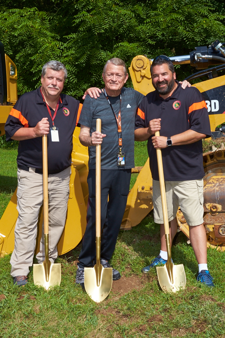 July 30, 2018 - Barnhart, MO: Arnold Rifle & Pistol Club ceremonial groundbreaking for a new long-distance rifle range to be built by R&K Excavating of Bloomsdale, MO. (L-R) Treasurer Jere Wilmering, Immediate Past President David Davenport, President Mark Goede.