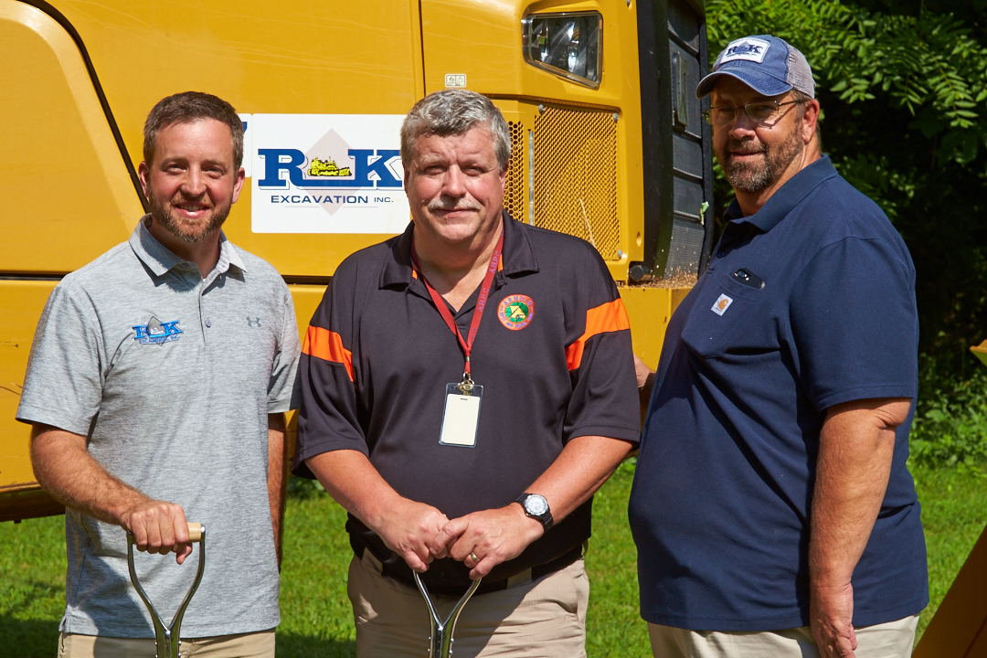 July 30, 2018 - Barnhart, MO: Arnold Rifle & Pistol Club ceremonial groundbreaking for a new long-distance rifle range to be built by R&K Excavating of Bloomsdale, MO. (L-R) Ryan Meyer, Project Manager, R&K Excavating, Jere Wilmering, Treasurer, Roger Faulkner, President, R&K Excavating.