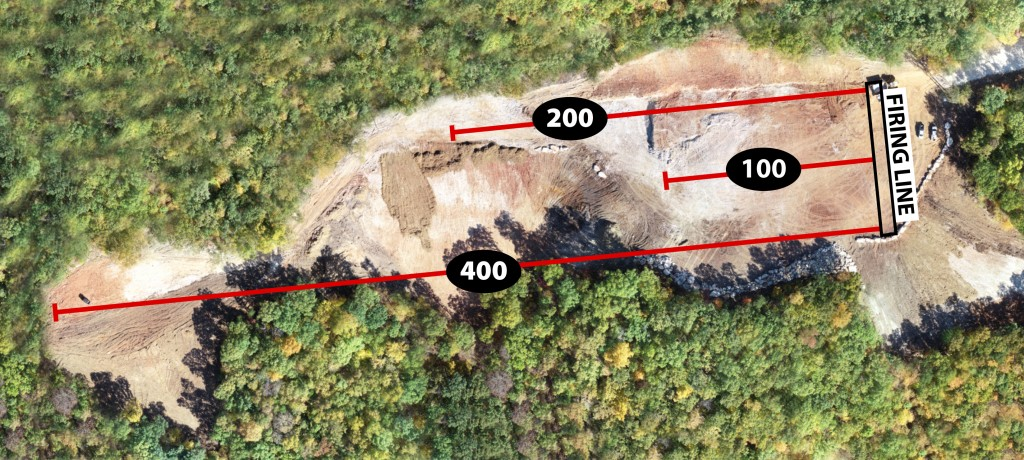 Aerial view with overlay showing the 200, 100 and 400 yard sections of the new range. (10/24/18)