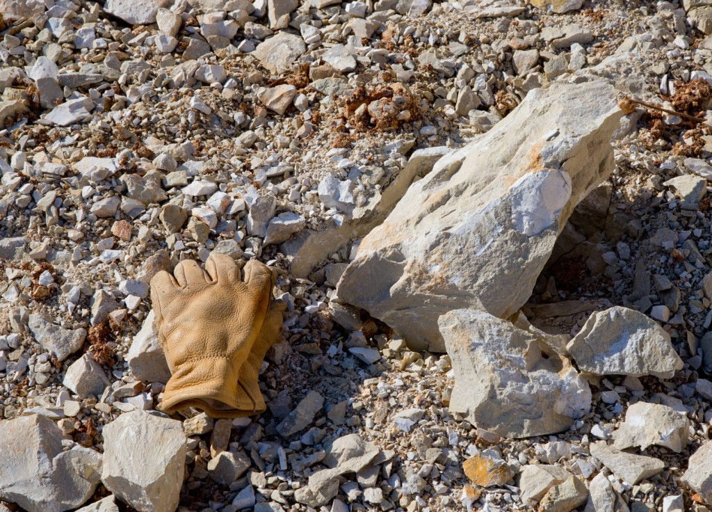 A glove shows the scale of some of the large rock remaining on the range. (12/10/18)